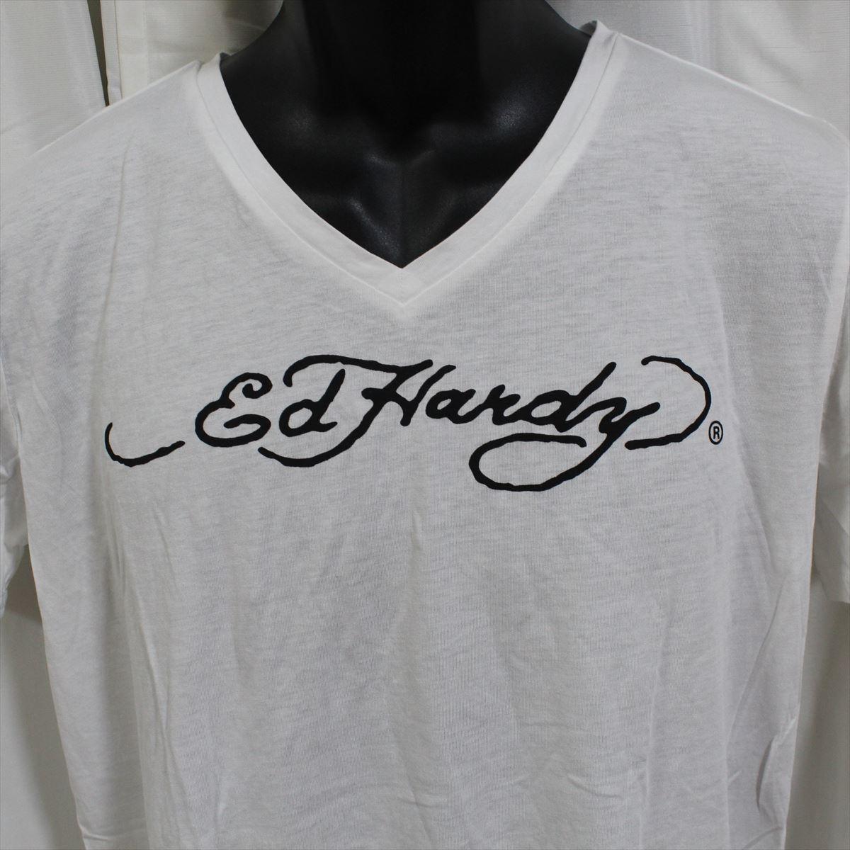 エドハーディー ED HARDY メンズ半袖Tシャツ ホワイト Lサイズ M02TCHB544 新品 Vネック 白_画像2