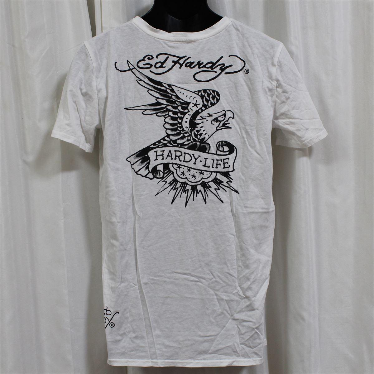 エドハーディー ED HARDY メンズ半袖Tシャツ ホワイト Lサイズ M02TCHB544 新品 Vネック 白_画像3