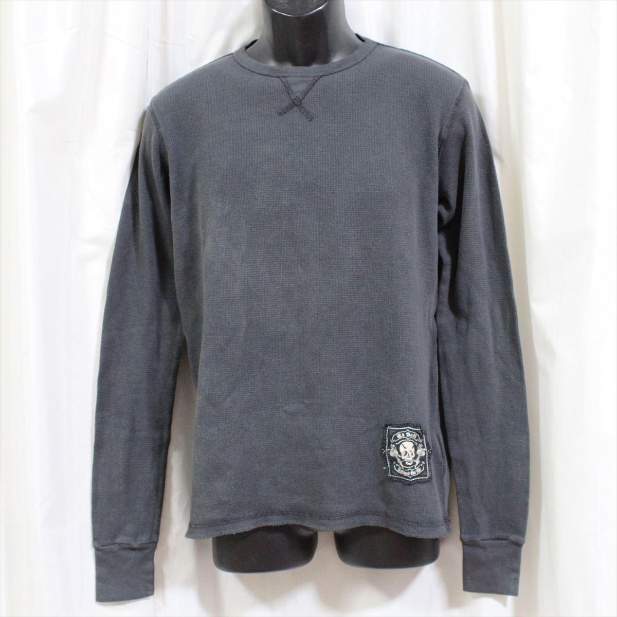 エドハーディー ED HARDY メンズ長袖サーマルTシャツ グレー Sサイズ PANTHER EAGLE EYE 新品 アメリカ製_画像1