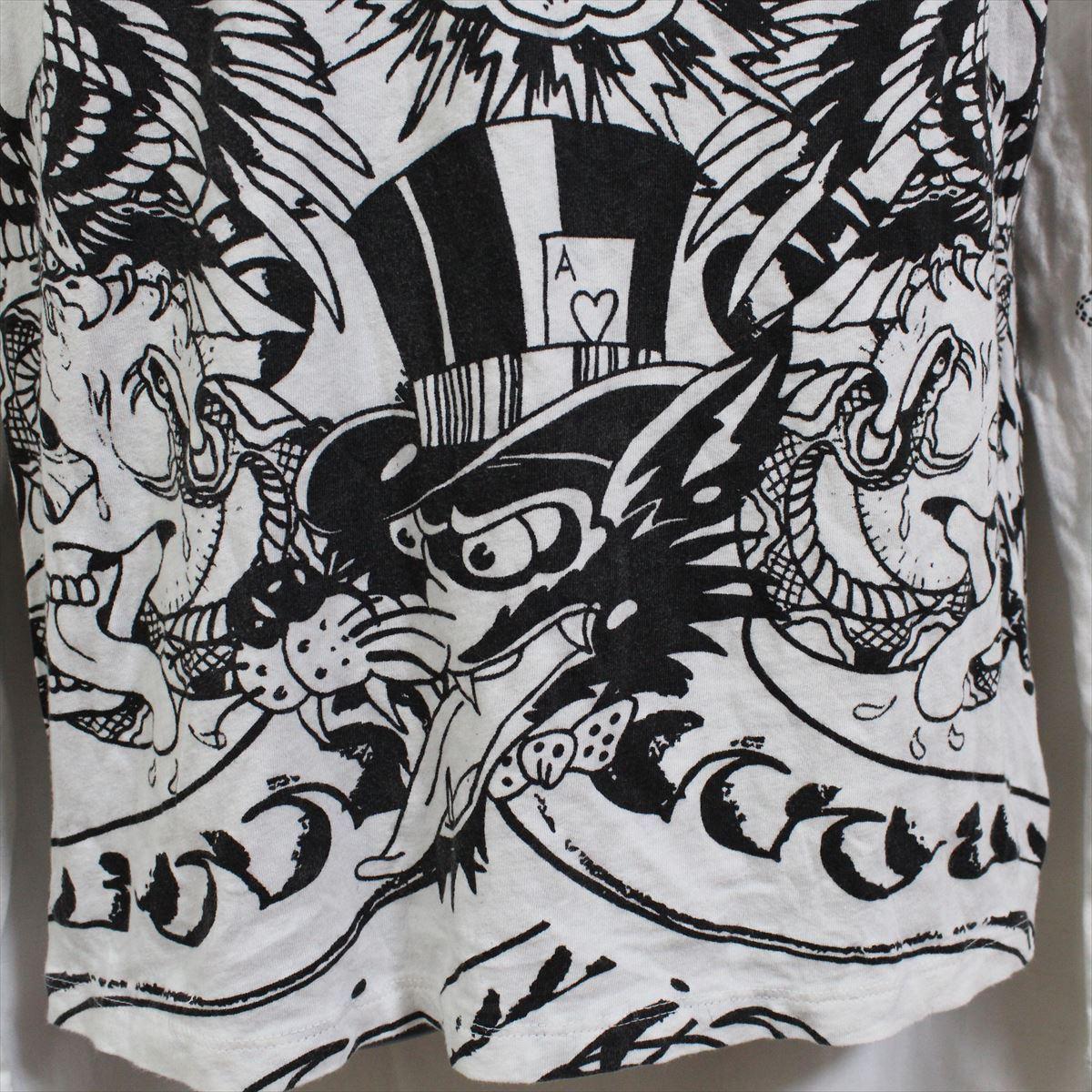 エドハーディー ED HARDY メンズ長袖Tシャツ ホワイト Mサイズ アウトレット 総柄 白_画像3