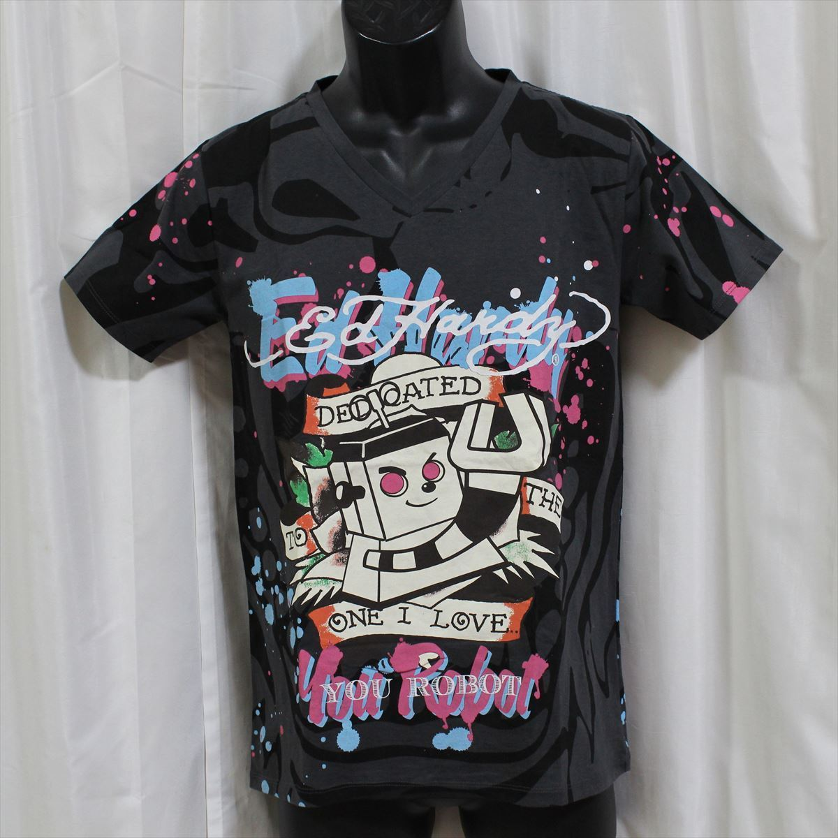 エドハーディー ED HARDY メンズ半袖Tシャツ チャコール Sサイズ 新品 Vネック YOU ROBOT_画像1