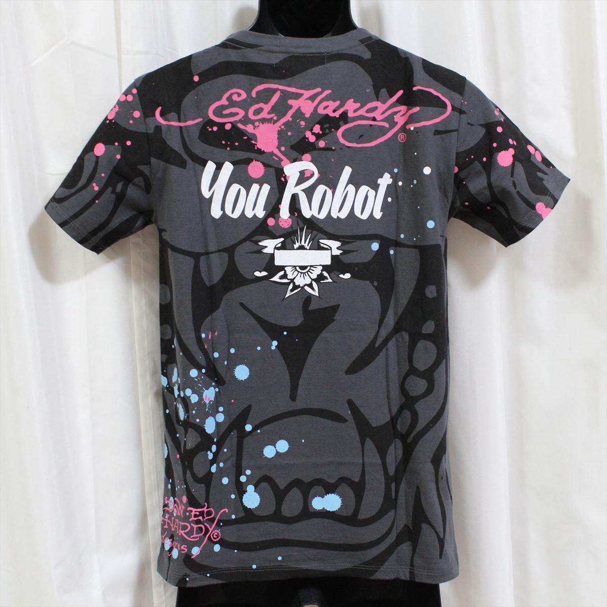 エドハーディー ED HARDY メンズ半袖Tシャツ チャコール Sサイズ 新品 Vネック YOU ROBOT_画像4