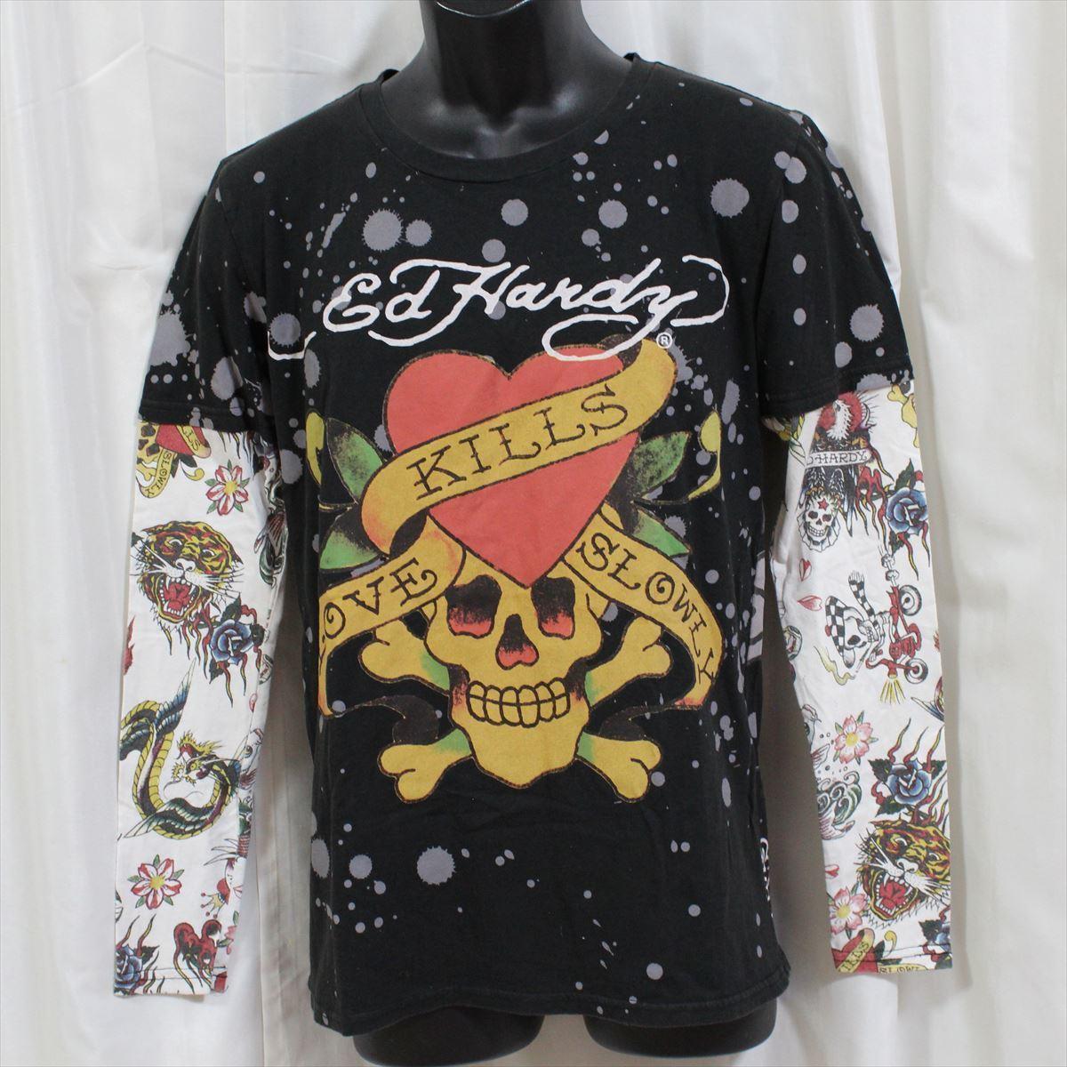 エドハーディー ED HARDY メンズダブルスリーブTシャツ ブラック Sサイズ M03VDS052 新品 長袖_画像1