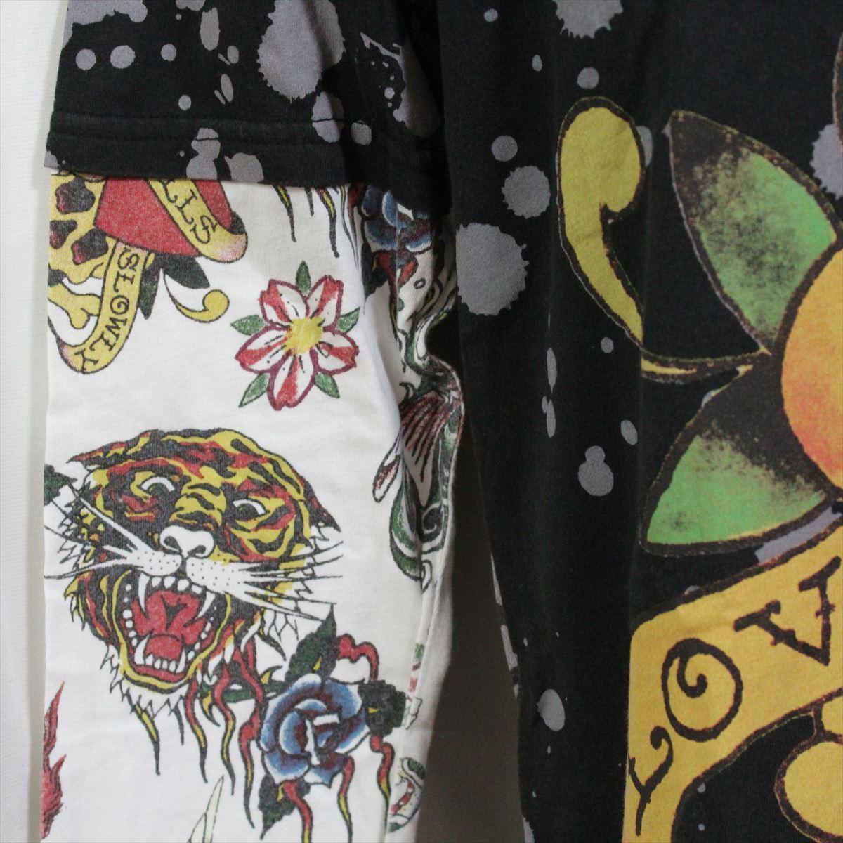 エドハーディー ED HARDY メンズダブルスリーブTシャツ ブラック Sサイズ M03VDS052 新品 長袖_画像2