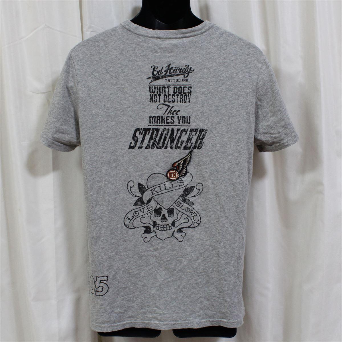 エドハーディー ED HARDY メンズ半袖Tシャツ グレー Sサイズ M02ABPP052 新品_画像4