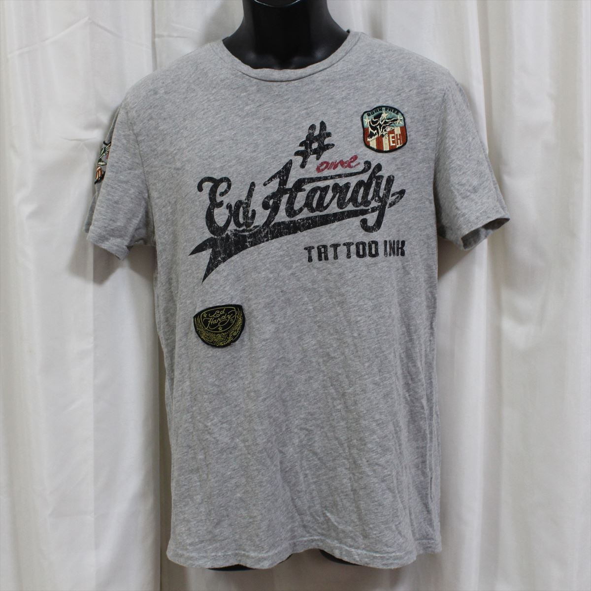 エドハーディー ED HARDY メンズ半袖Tシャツ グレー Sサイズ M02ABPP052 新品_画像1