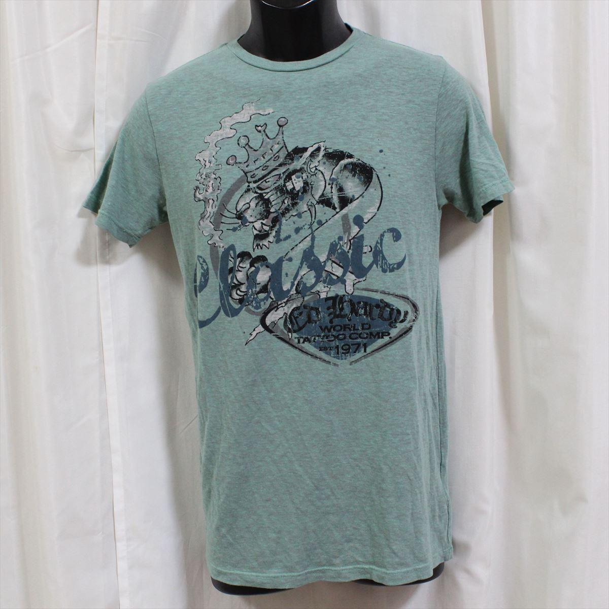 エドハーディー ED HARDY メンズ半袖Tシャツ グリーン Sサイズ 新品_画像1