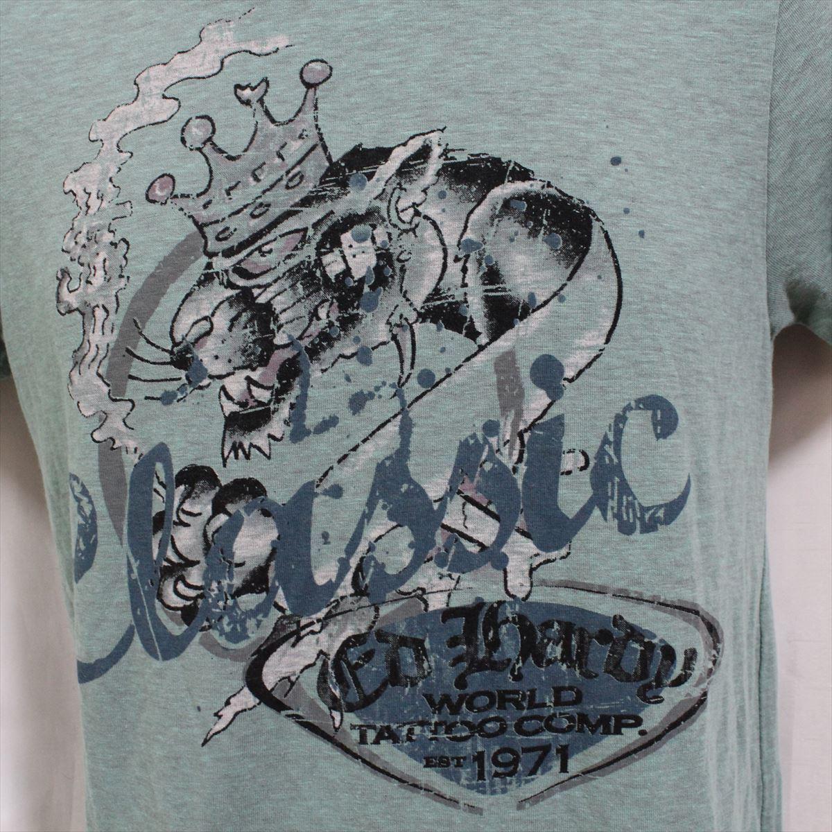 エドハーディー ED HARDY メンズ半袖Tシャツ グリーン Sサイズ 新品_画像2