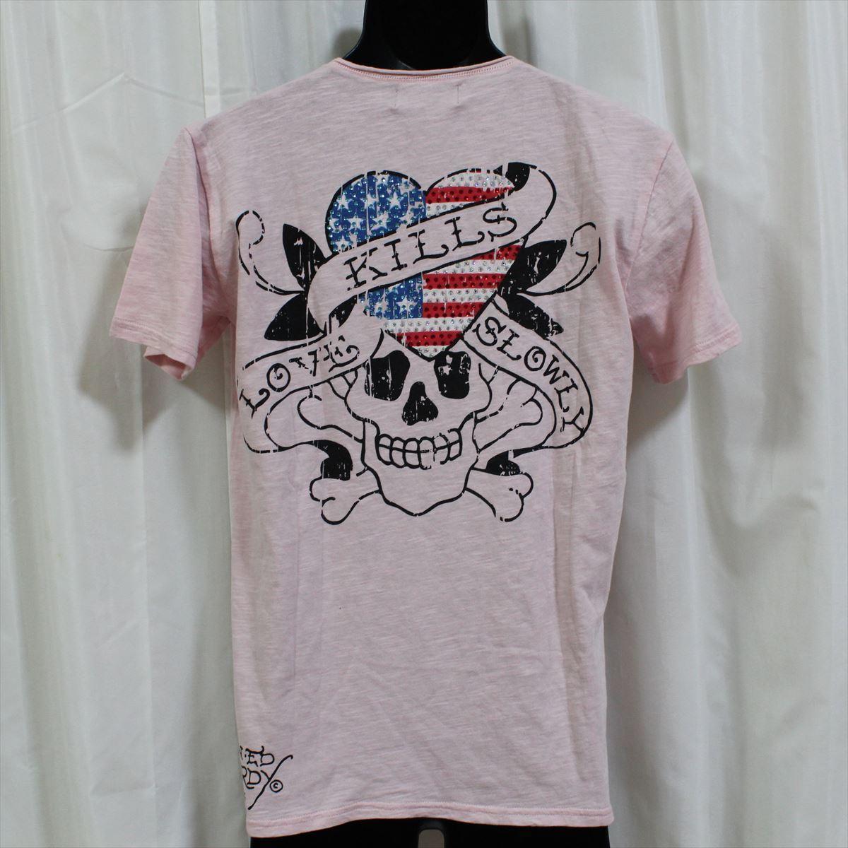 エドハーディー ED HARDY メンズ半袖Tシャツ ピンク Mサイズ NO65 新品 USA_画像3