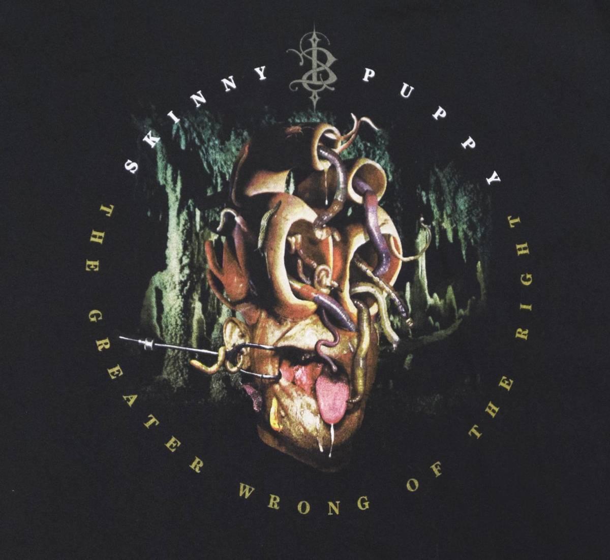 激レア! 00's SKINNY PUPPY 『THE GREATER WRONG OF THE RIGHT』 ツアー Tシャツ COIL MINISTRY MARILYN MANSON NINE INCH NAILS KMFDM_画像4
