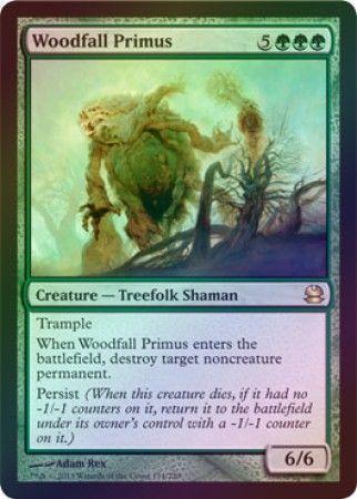 え緑Foil 森滅ぼしの最長老 1枚(1枚在庫s 英 良品 MMA)/Woodfall Primus(MTG /モダンマスターズ/Modern Masters/モダマス/)_画像1