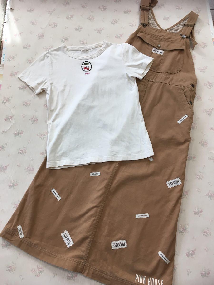 ピンクハウス 刺繍チェリーのワッペン・生成色・シンプルな半袖Tシャツ