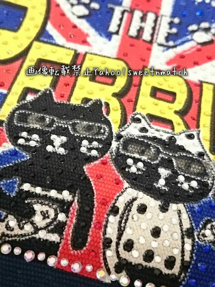 ペブリー pebbly ララキューブ LALACUB ストーン付 ポーチ コスメポーチ 化粧ポーチ マルチポーチ 新品 未使用 猫 ネコ ねこ 猫柄 ネコ柄