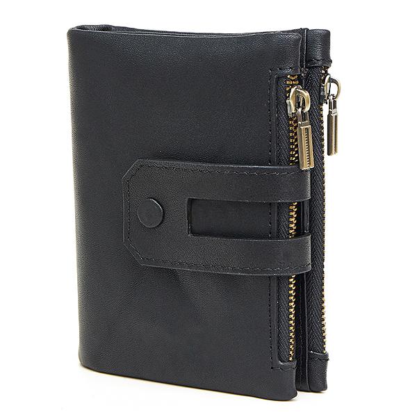 MY BAG 二つ折り財布 短財布 高級レザー 牛革本革 メンズ 小銭入れあり ウォレット コインケース ファスナー カード入れ 2059 ブラック_画像1