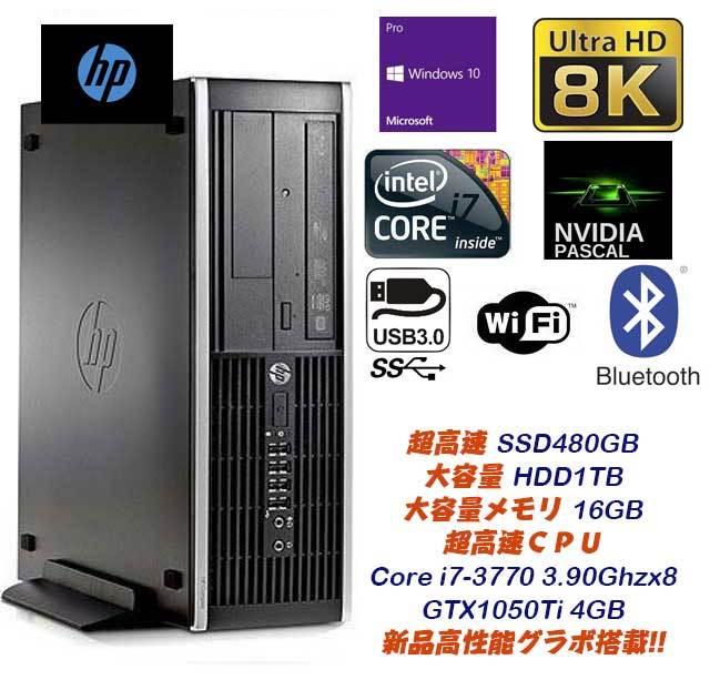 極上ゲーミング&4K動画編集★超爆速Core i7-3770(3.9Gx8)大容量16GB/新品SSD480GB&HDD1TB/新品4GB GTX1050Ti-8K/USB3.0/wi-fi/Bluetooth★