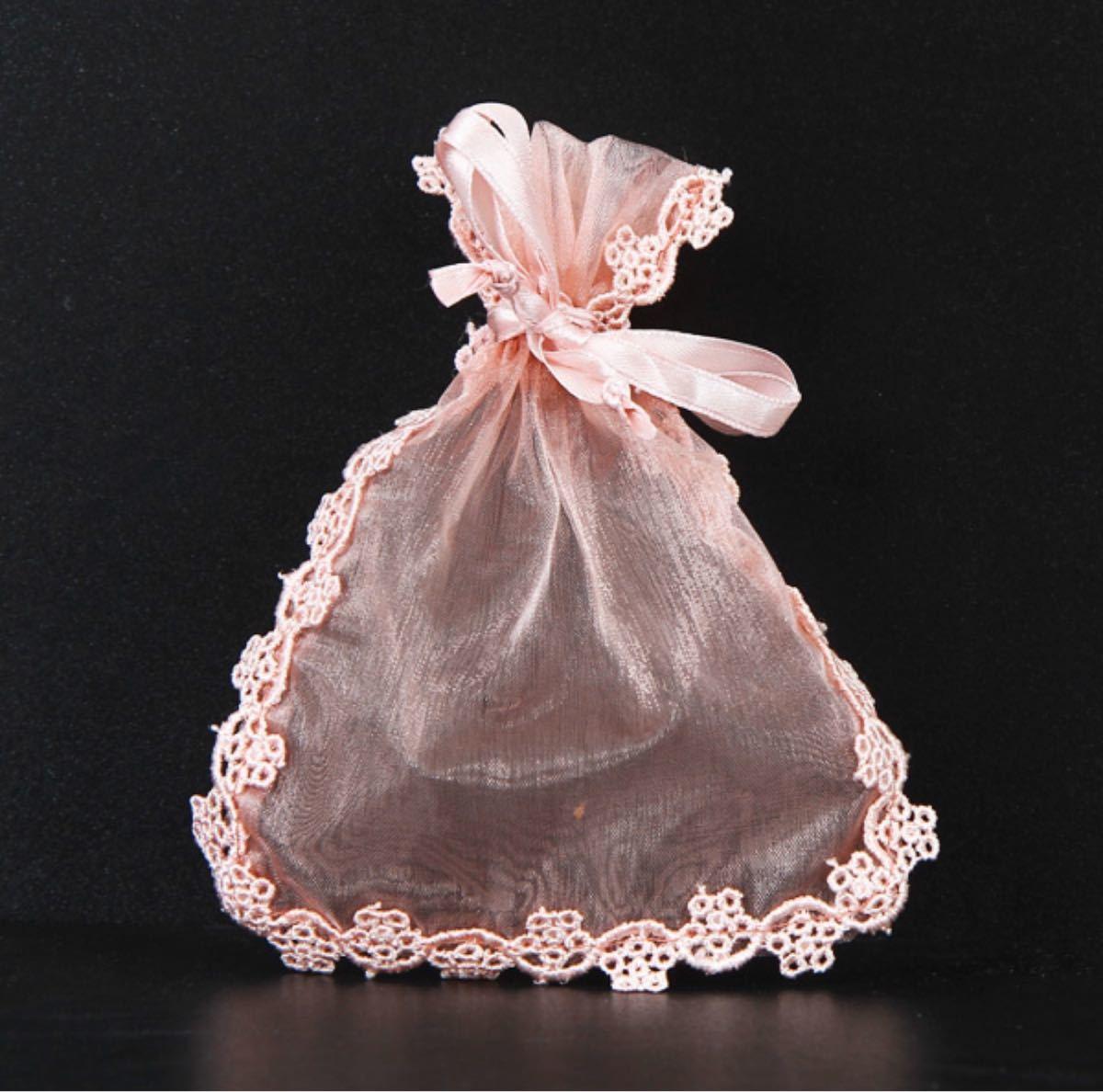 未開封 気品溢れる透ける花柄レース巾着 ラッピング袋 5枚セットピンクのみ