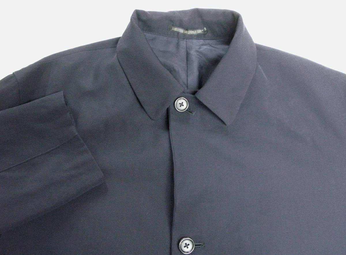 ヨウジヤマモト プールオム:旧タグ ビッグシルエット ウールギャバ ロング ジャケット 濃紺Yohji Yamamoto pour HOMME vintage big jacket_画像3