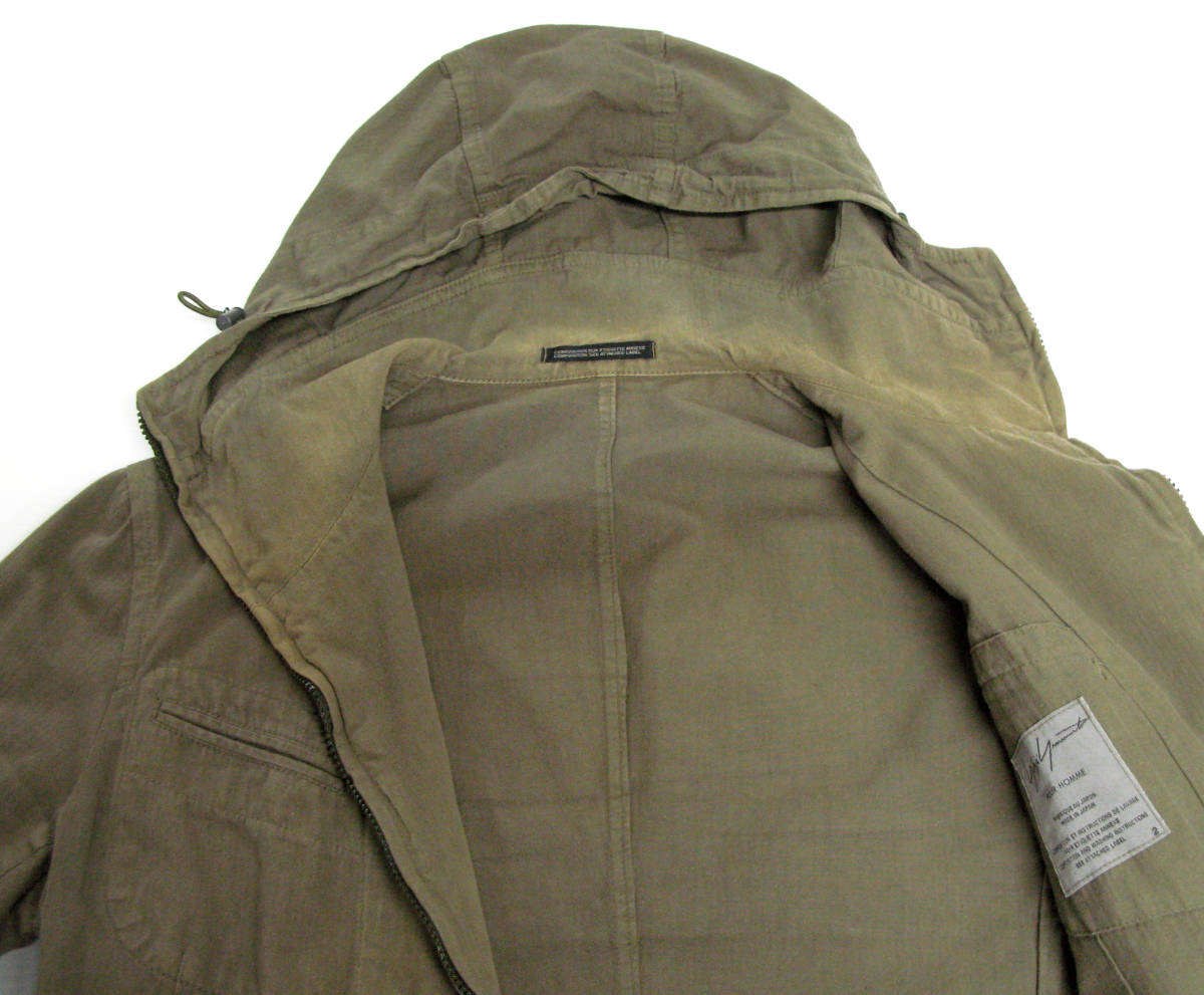 ヨウジヤマモト:綿麻混紡素材 ジップアップ フード パーカ ( ジャケット ダブルジップ ブルゾン Yohji Yamamoto pour HOMME jacket_画像4