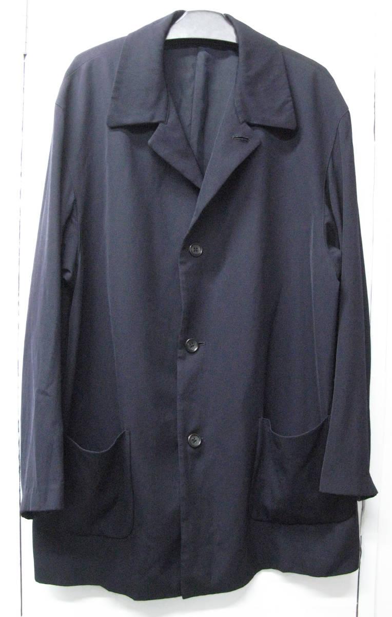 ヨウジヤマモト プールオム:旧タグ ビッグシルエット ウールギャバ ロング ジャケット 濃紺Yohji Yamamoto pour HOMME vintage big jacket_画像1