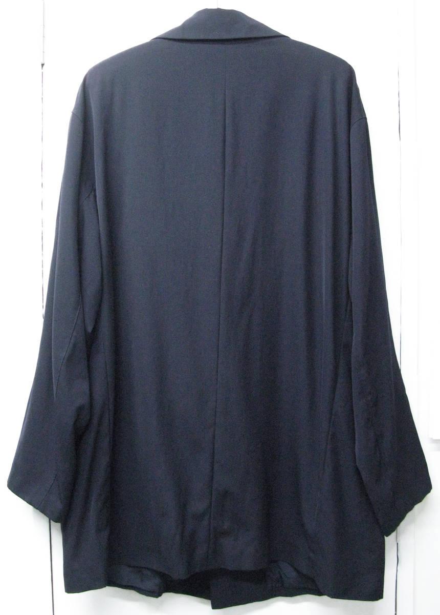 ヨウジヤマモト プールオム:旧タグ ビッグシルエット ウールギャバ ロング ジャケット 濃紺Yohji Yamamoto pour HOMME vintage big jacket_画像2