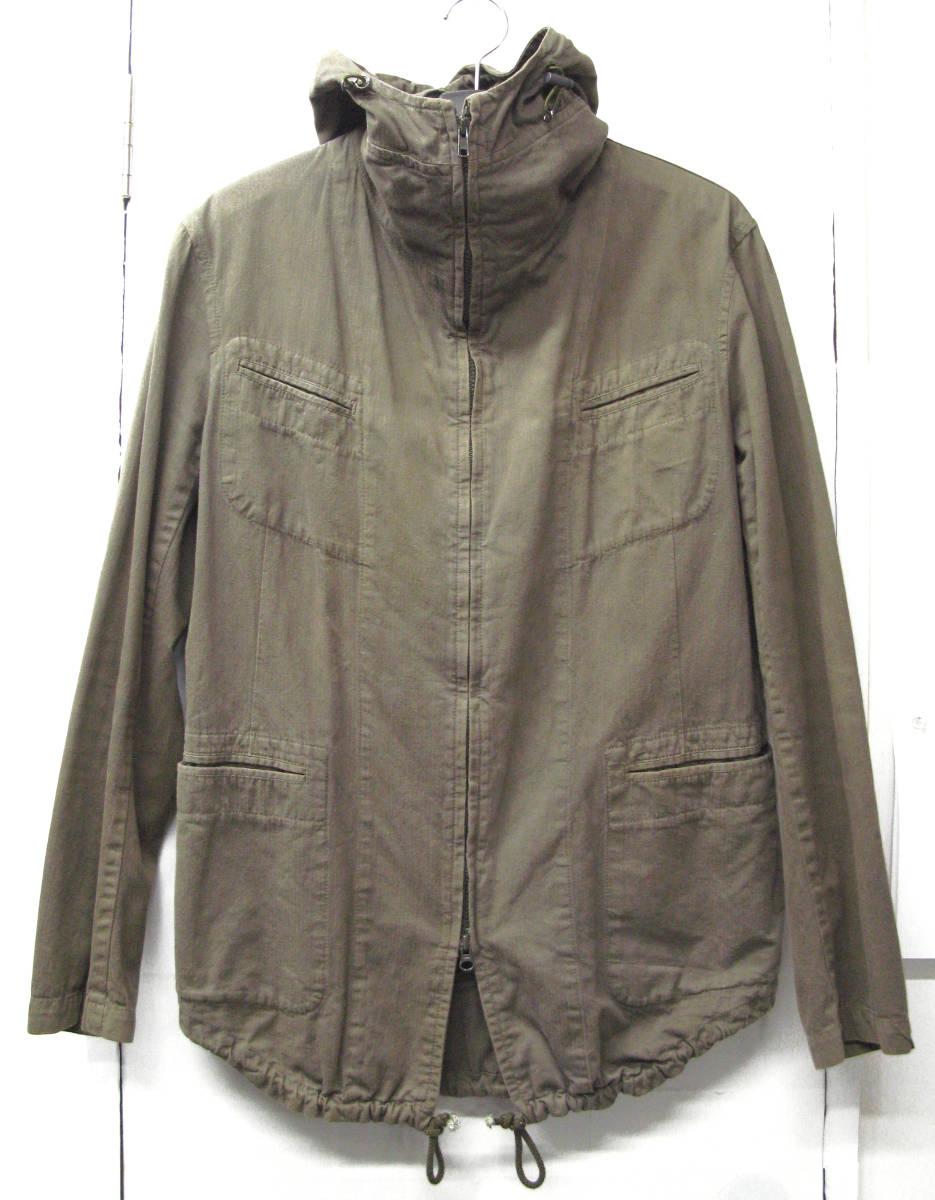 ヨウジヤマモト:綿麻混紡素材 ジップアップ フード パーカ ( ジャケット ダブルジップ ブルゾン Yohji Yamamoto pour HOMME jacket_画像1