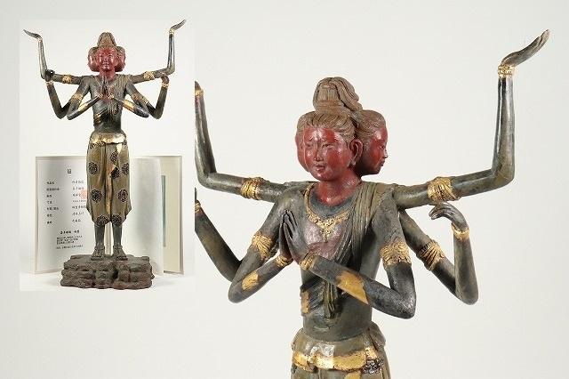 【燿】蔵出品 仏師 喜多敏勝作 蝋型青銅製 本金 阿修羅像 仏像 仏教美術