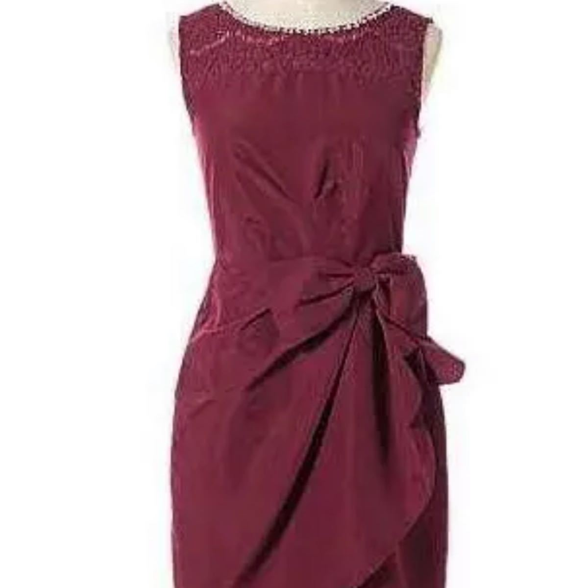 パーティードレス結婚式ワンピースキャバドレスとしても試着のみSサイズワインレッド