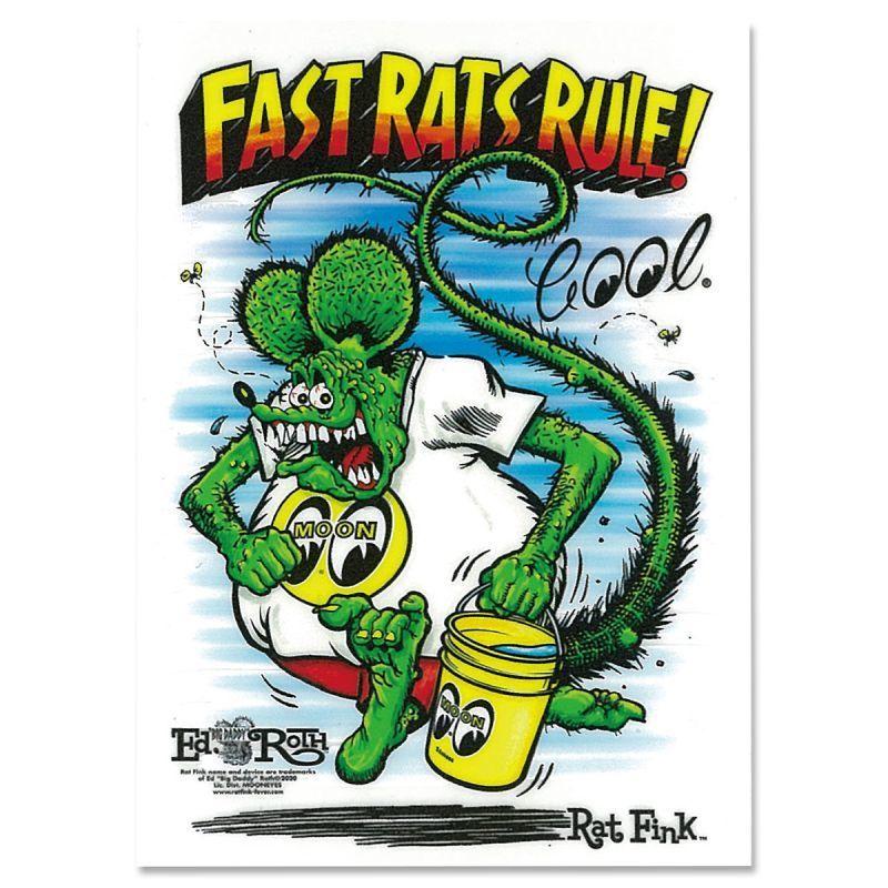 送料85円 Rat Fink x MOON Fast Rat Rule ステッカー MOONEYES ムーンアイズ ラットフィンク [DM233]_画像1