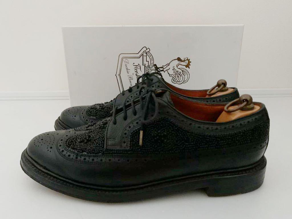 Florsheim by Duckie Brown size91/2D ビーズ ブラック 黒 ウイングチップ 外羽根 レザーシューズ 革靴 フローシャイム ダッキーブラウン_画像4