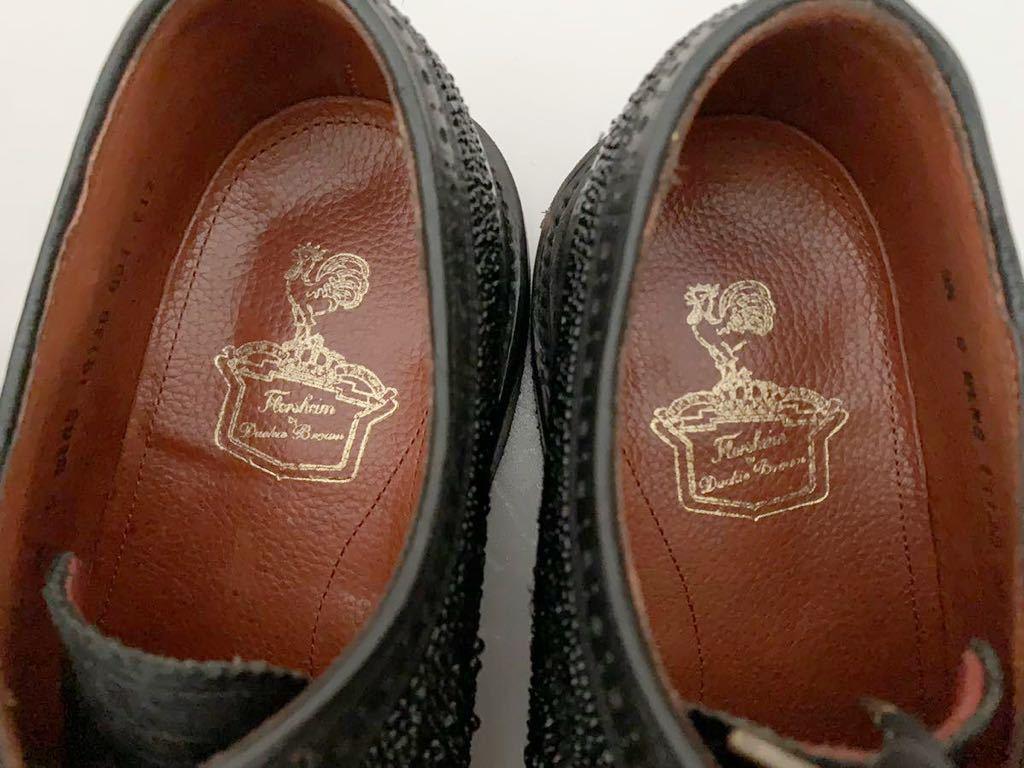 Florsheim by Duckie Brown size91/2D ビーズ ブラック 黒 ウイングチップ 外羽根 レザーシューズ 革靴 フローシャイム ダッキーブラウン_画像9
