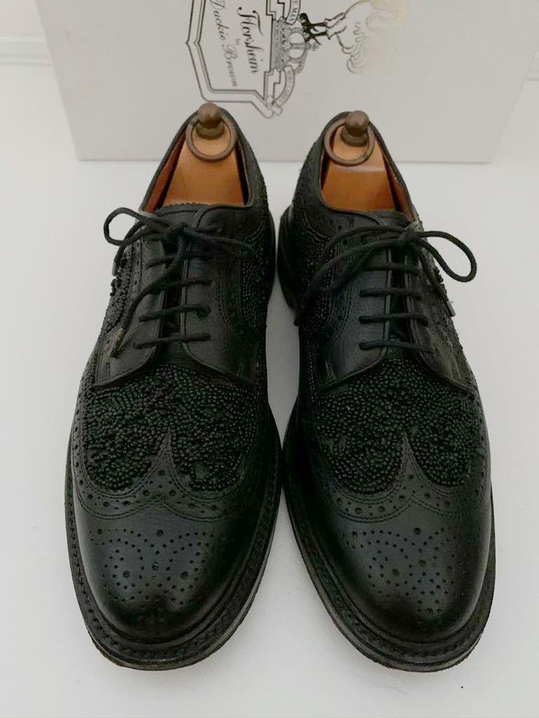 Florsheim by Duckie Brown size91/2D ビーズ ブラック 黒 ウイングチップ 外羽根 レザーシューズ 革靴 フローシャイム ダッキーブラウン_画像2