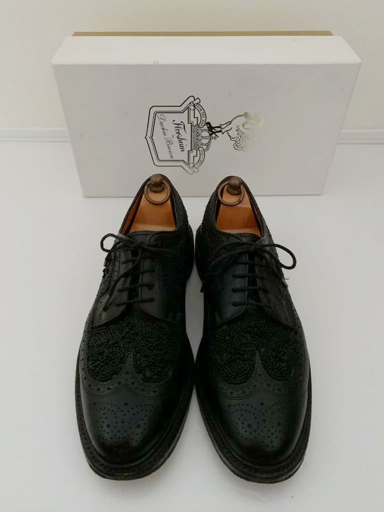 Florsheim by Duckie Brown size91/2D ビーズ ブラック 黒 ウイングチップ 外羽根 レザーシューズ 革靴 フローシャイム ダッキーブラウン_画像1