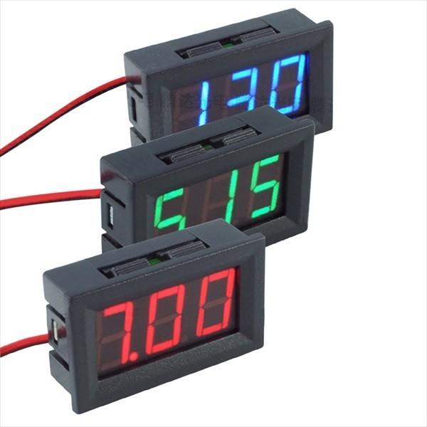 【新品】パネル 取付け型 デジタル 電圧計 緑 2線式 DC3.2v~DC30v Green グリーン 電圧計測