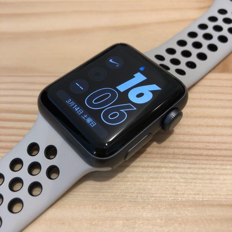 Apple Watch Series2 NIKELAB 38mm スペースグレイアルミニウムケース ライトボーン/ブラックNikeスポーツバンド 限定モデル ナイキ