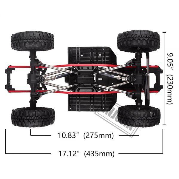 インジョラRCカー275mmホイールベース1/10 RCクローラーカーSCX10 D90 TF2 MST用ホイール付きフレ S204000532701446_画像3