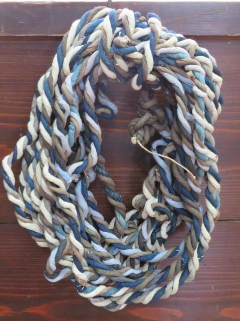 襤褸 木綿古布 荷縄 木綿裂のねじり 撚り紐 長さ約15m 重さ約951g _画像1