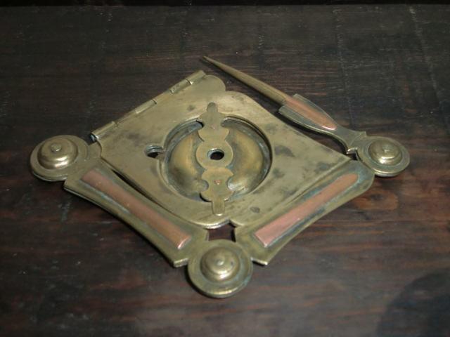 仏教美術  江戸期 古銅 燭台 携帯(折り畳み式)花押付き_画像1