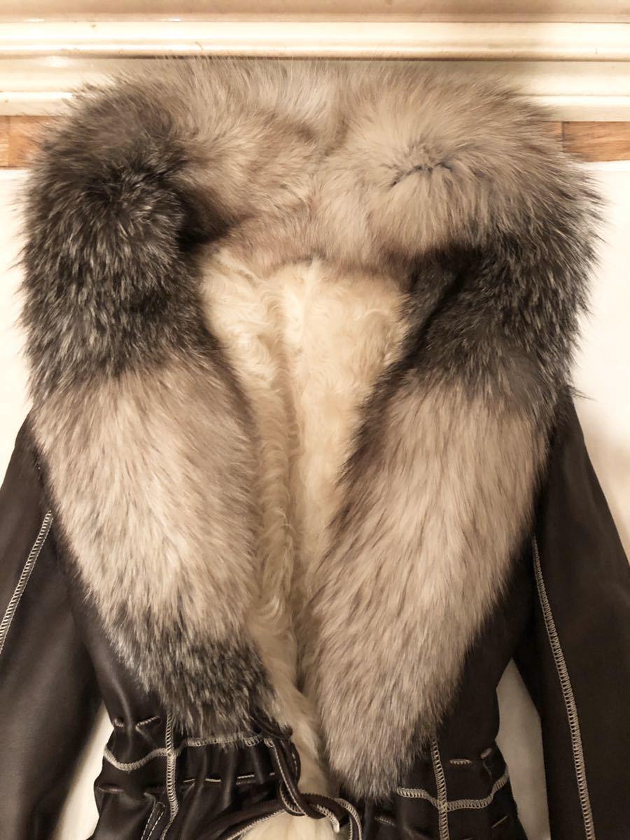 violet 羊革ラムレザーリアルムートンフォックスファーコート美品豪華フォックスファームートンコート