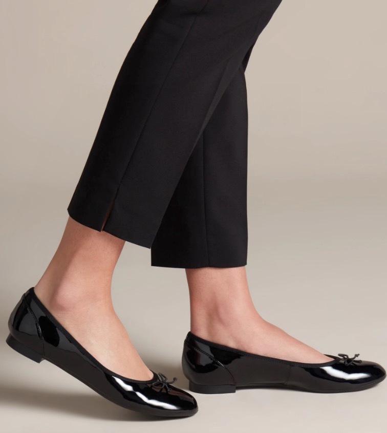 送料無料 Clarks 23cm フラット レザー ブラック 黒 バレエ シューズ ローファー ロー ヒール クラシック パンプス ブーツ サンダル 802_画像4