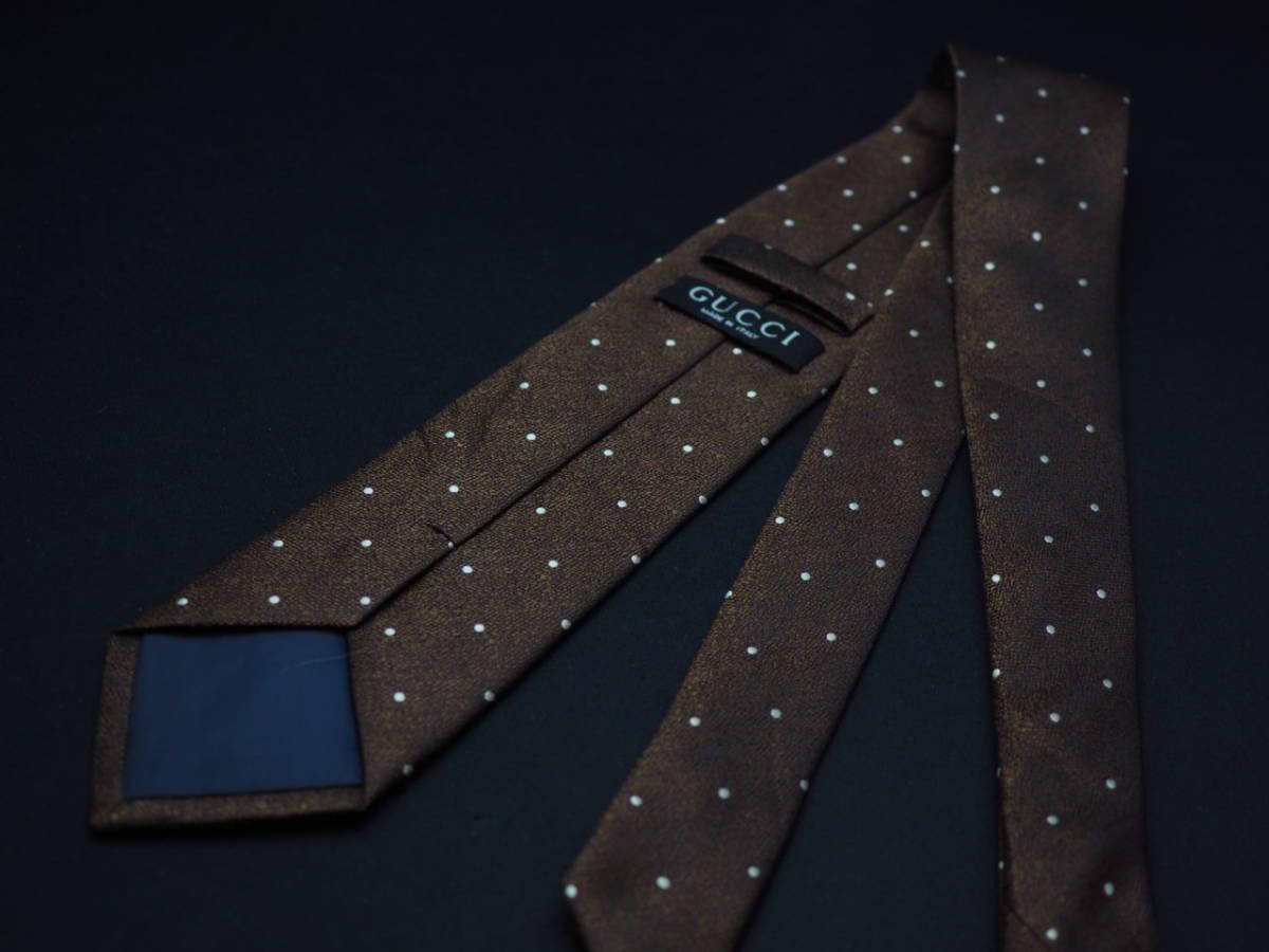 美品【Gucci】グッチ ITALY イタリア製 ダークブラウン ブラック ホワイト ドット柄 USED オールド ブランドネクタイ SILK100% シルク_画像3
