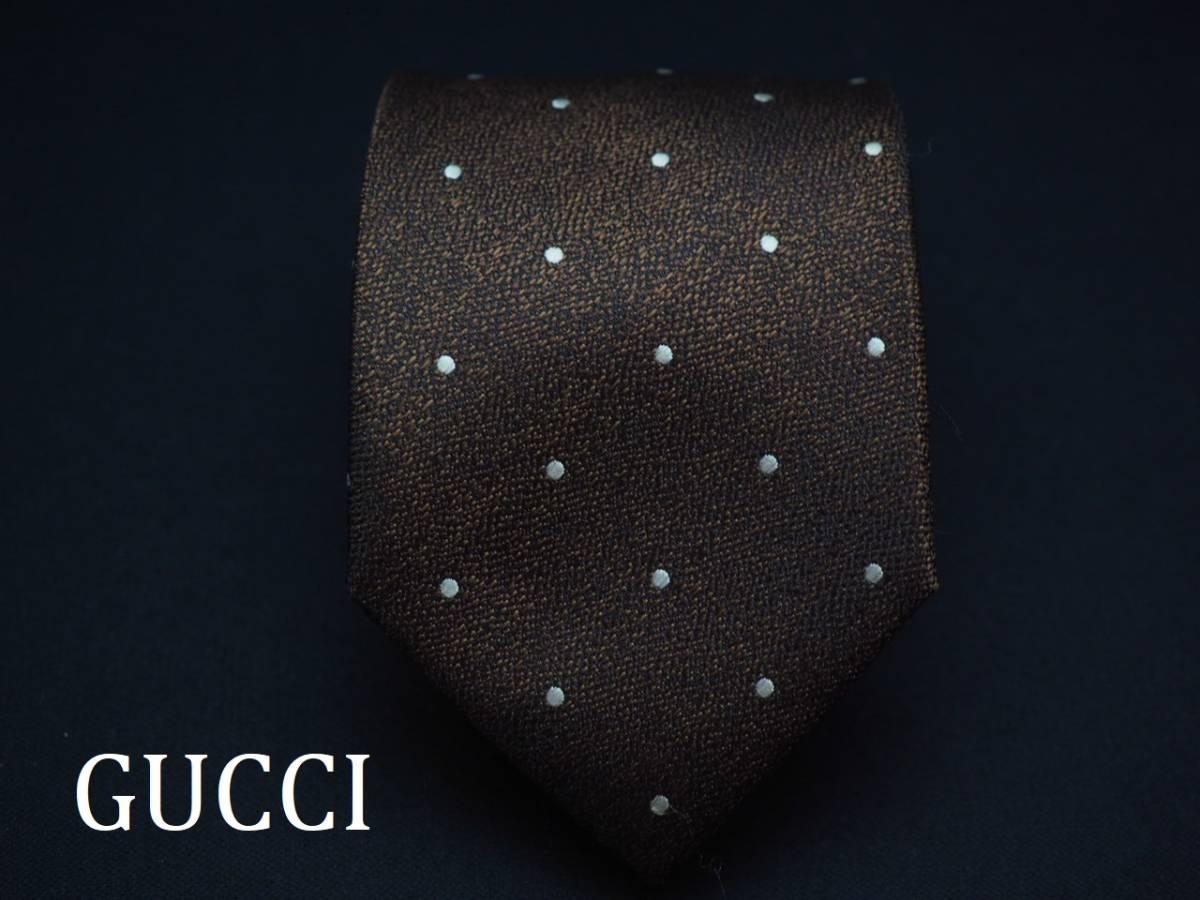 美品【Gucci】グッチ ITALY イタリア製 ダークブラウン ブラック ホワイト ドット柄 USED オールド ブランドネクタイ SILK100% シルク_画像1