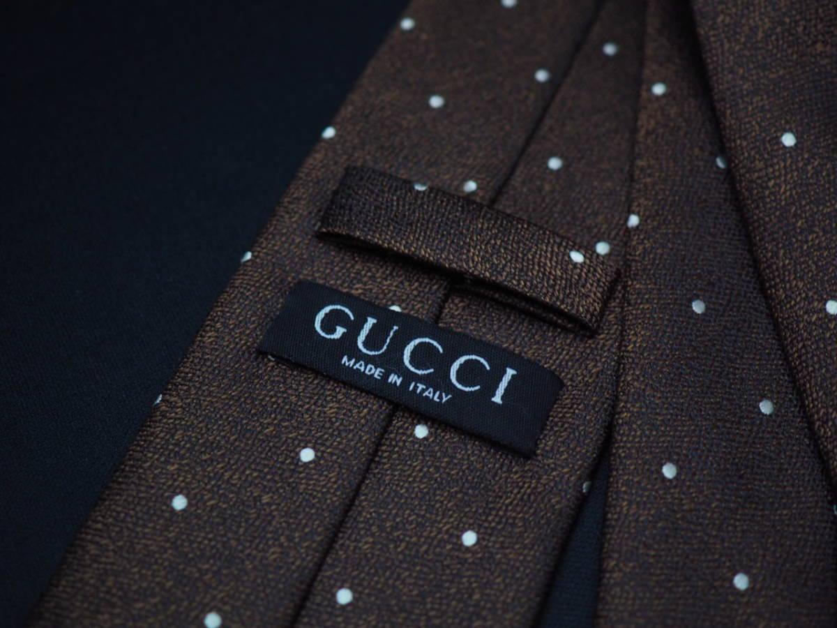 美品【Gucci】グッチ ITALY イタリア製 ダークブラウン ブラック ホワイト ドット柄 USED オールド ブランドネクタイ SILK100% シルク_画像4