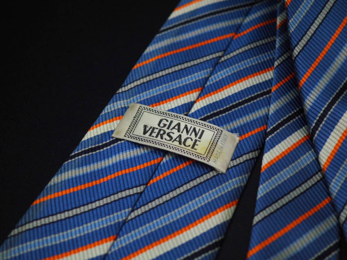 【VERSACE】ヴェルサーチ ITALY イタリア製 ブルーグレー オレンジ ネイビー ホワイト ストライプ柄 USED オールド ブランドネクタイ SILK_画像4