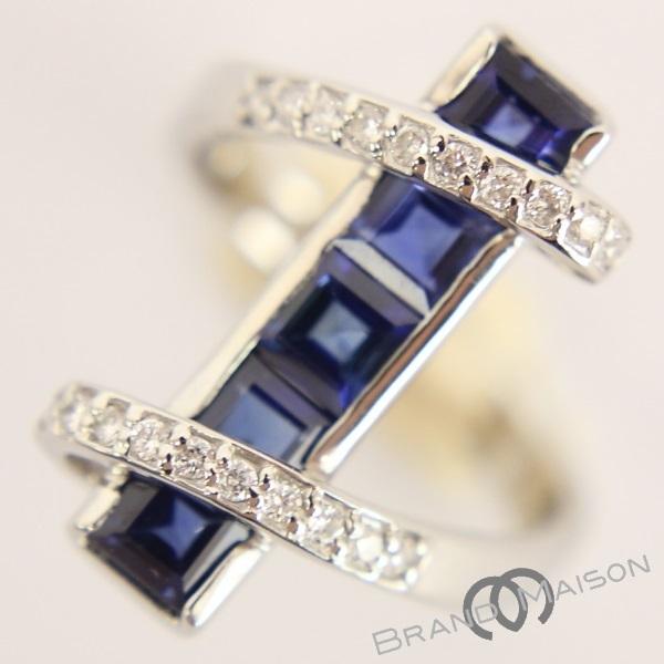 【ジュエリー】サファイヤリング/ダイヤモンド/Pt900/10.5号/8.2g/指輪/レディース/アクセサリー/プラチナ_画像1