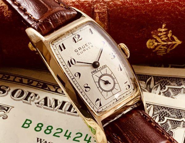 ◆GRUEN◆/グリュエン/CURVEX/14K/◎金無垢/カーベックス/1930's/アンティーク/手巻き/メンズ/腕時計/レクタンギュラー/ビンテージ_画像2