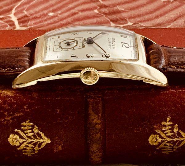 ◆GRUEN◆/グリュエン/CURVEX/14K/◎金無垢/カーベックス/1930's/アンティーク/手巻き/メンズ/腕時計/レクタンギュラー/ビンテージ_画像3