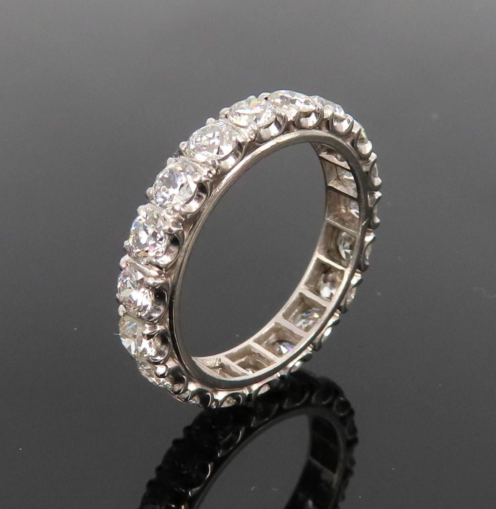◆アンティーク◆貴重◆《3.0ct オールドマインカット ダイヤモンド》【プラチナ】《指輪 エタニティ リング》_画像2