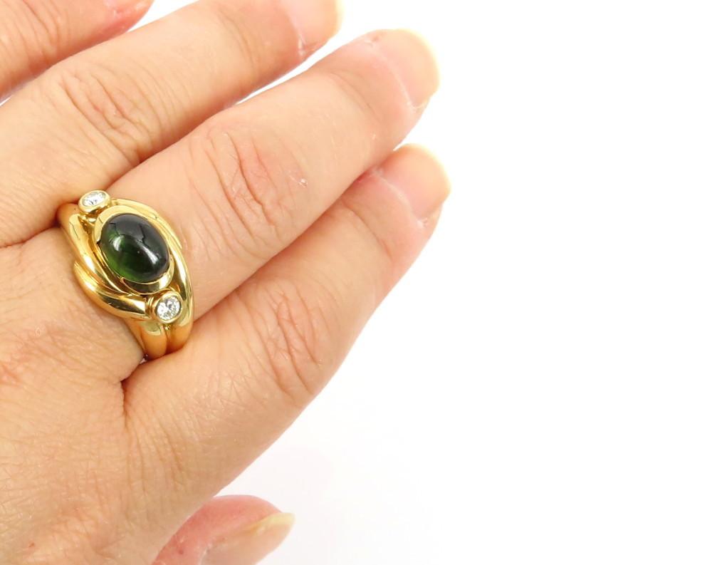 ◆ヴィンテージ◆【2.50ct ペリドット】《0.25ct ダイヤモンド》【18金イエローゴールド18K】《指輪 リング》_画像8