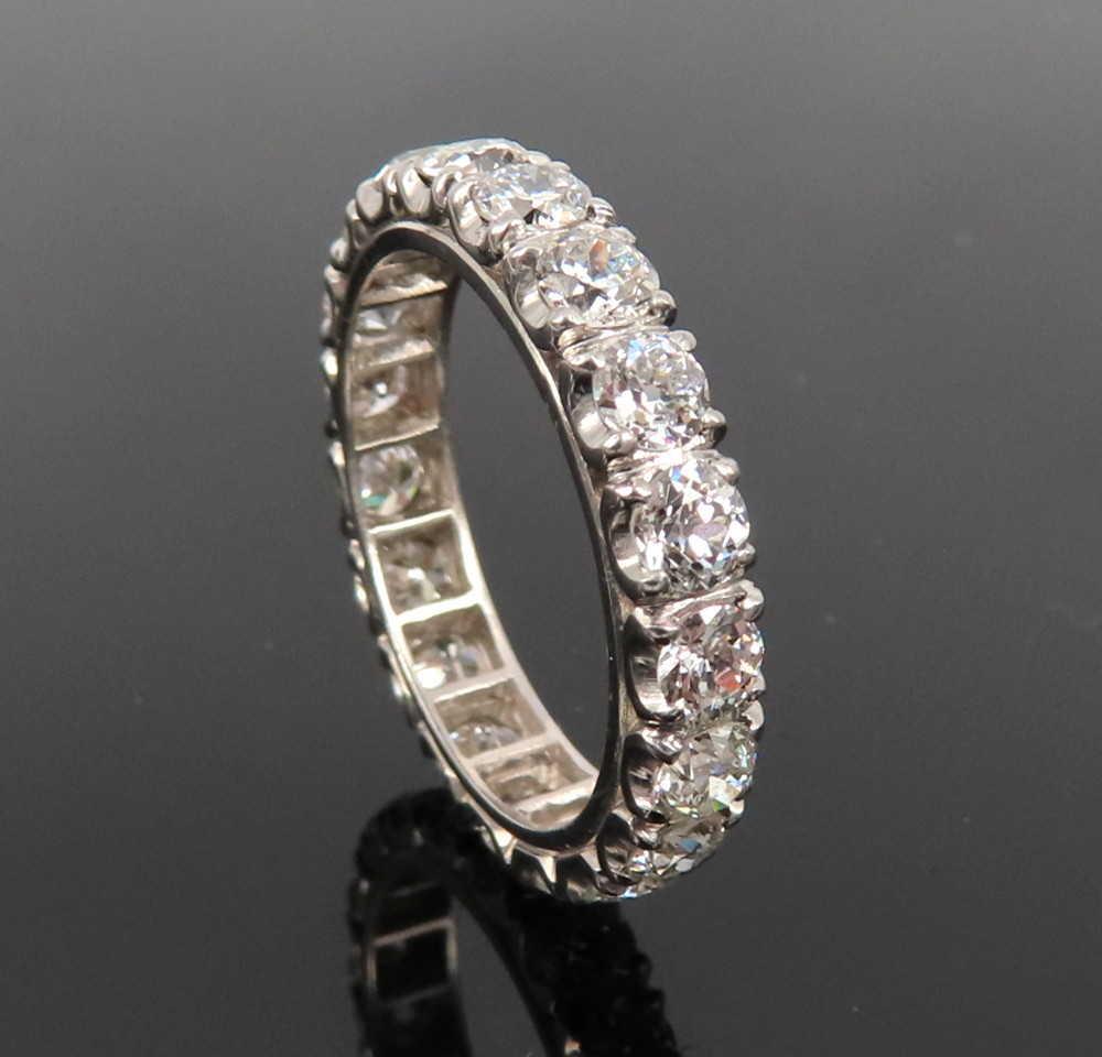 ◆アンティーク◆貴重◆《3.0ct オールドマインカット ダイヤモンド》【プラチナ】《指輪 エタニティ リング》_画像3