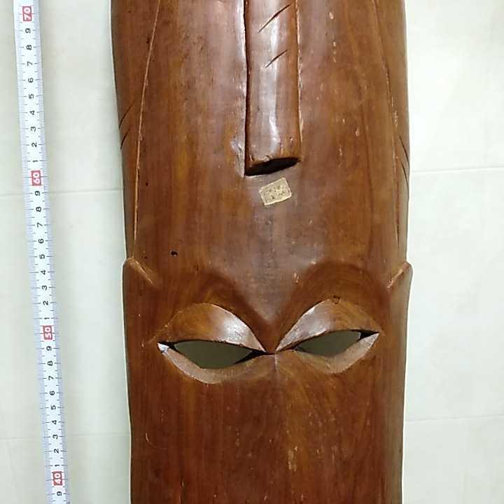 アフリカ ケニア ケニヤ 民芸品 木彫り 木彫 お面 仮面 高さ約93㎝ 詳細不明 ジャンク扱い _画像4